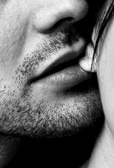 Lips biting kiss